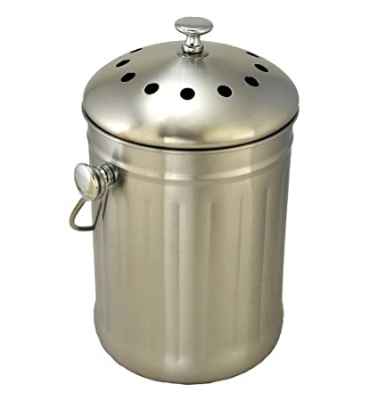 Beau Brushed Stainless Steel Compost Pail U0026 Indoor Kitchen Bin