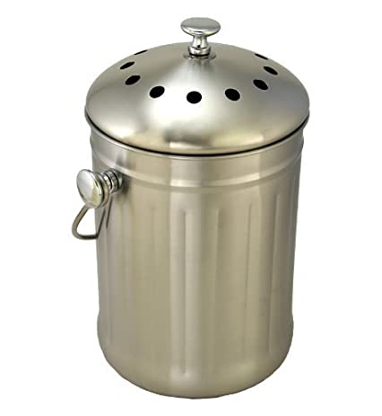 Brushed Stainless Steel Compost Pail U0026 Indoor Kitchen Bin