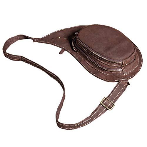 (Trend leather men's first layer crazy horse leather chest bag retro handmade shoulder bag sports hat shape Messenger)