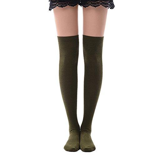 (Thin Knee High Socks, MK MEIKAN Womens Crochet Thigh High Boot Socks Girls Leggings 1 Pair, Army Green)