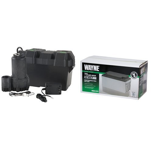 WAYNE ESP25 12 Volt Battery Back-Up Sump Pump System with Audible Alarm and WSB1275 75Ah AGM Sealed Lead Acid Battery by