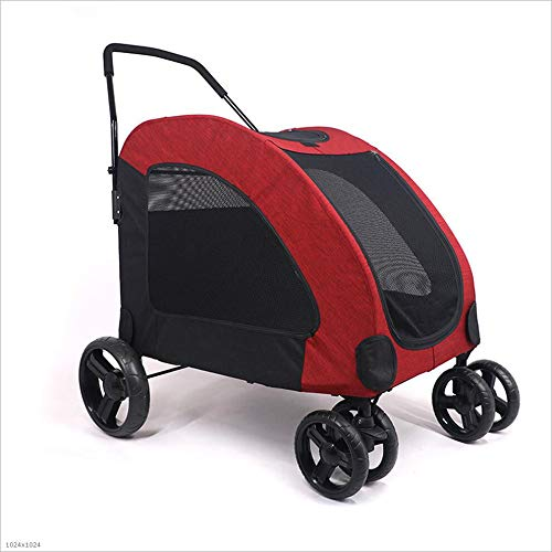 Red Extra Large Pet Stroller,Outdoor Dog Top Window Large Trolley Foldable for Medium Large Dogs Outgoing,Suitable for 15 – 55Kg