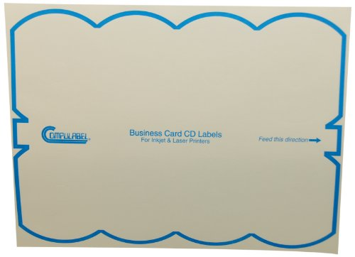 Mini Cd Business Cards - Compulabel 312682 White Business Card Mini CD Labels for Laser and Inkjet Printers, 3.07 x 2.38 Inch, Permanent Adhesive, 8 per Sheet, 100 Sheets per Carton