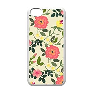 floral pattern flowers print green leaves iPhone 5C Case White