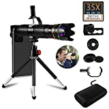 35X Cell Phone Camera Lens, 16X to 35X Adjustable Dual Focus Telephoto Zoom Lens HD 4K with Detachable Clamps Strong Tripod for iPhone XR,XS MAX,XS,X,8,7,6,6s Plus Smartphone