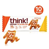 think! (thinkThin) Protein+ 150 Calorie Bars - Salted Caramel, 10g Protein, 5g Sugar, No Artificial Sweeteners, Gluten Free, GMO Free, 1.4 oz bar (10 Count - packaging may vary)