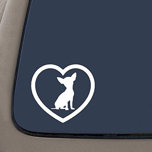 NI212 **2 Pack** Heart dog puppy Sticker Car Window Vinyl Decal (Chihuahua) | White Vinyl Decal | 4