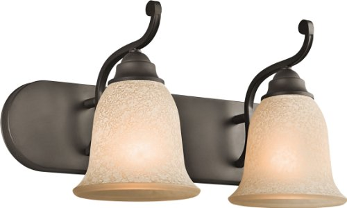 - Kichler 45422OZ, Camerena Glass Wall Vanity Lighting, 2 Light, 200 Watts, Olde Bronze