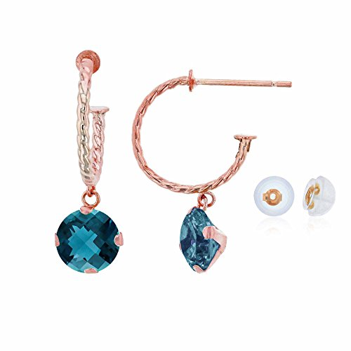 10K Rose Gold 12mm Rope Half-Hoop with 6mm Round London Blue Topaz Martini Drop Earring with Silicone Back