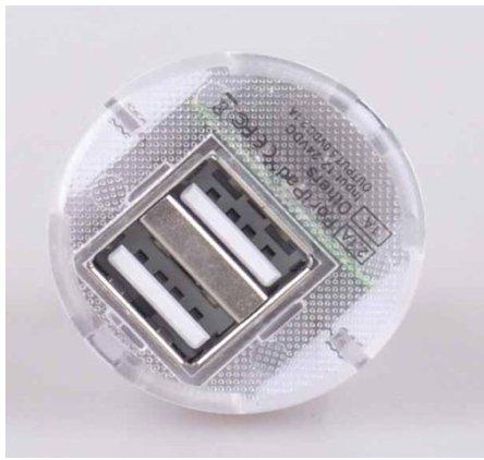 C63®–BIANCO doppia porta USB caricabatterie da auto/Adattatore. Ricarica 2dispositivi contemporaneamente.