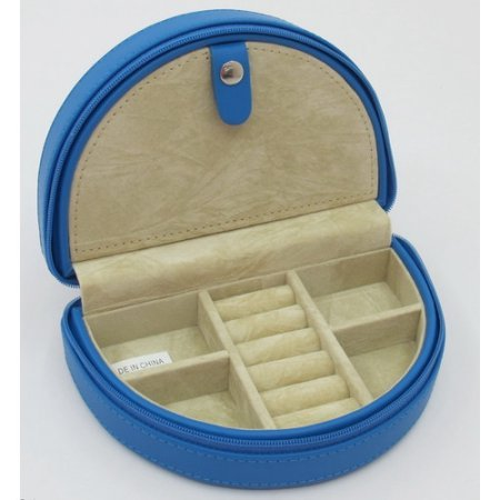 (Zippered Half Moon Leather Jewelry Box, Blue)