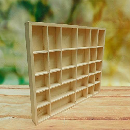 Wooden Wall Display Cabinet Trinket Display Shelf 45 x 40 x 3.5 cm 28 Compartments Unpainted /& Untreated Decorative Wood Wall Hanging Unit Souvenir Organiser