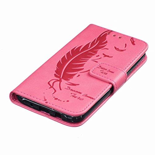 Custodia Samsung Galaxy J5 J500F Cover Case, Ougger Portafoglio PU Pelle Magnetico Stand Morbido Silicone Flip Bumper Protettivo Gomma Shell Borsa Custodie con Slot per Schede, Sognare Piuma Rosa