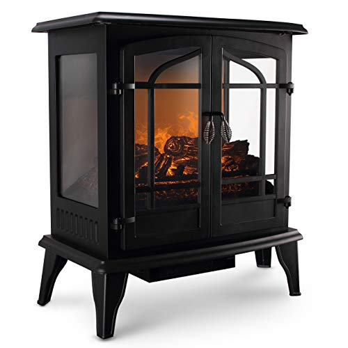DELLA 1400W Vintage Electric Stove Heater Fireplace 25-Inch Freestanding 3D Flame Log Stove Firebox, Black