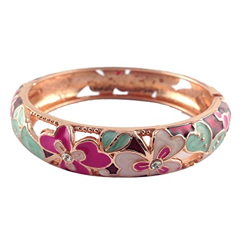 UJOY Colorful Cloisonne Handcraft Bracelet Bangle Rhinestone Spring Hinge Vintage Enamel Jewelry Womens Gifts with Box 88A22 Clover WineRed ()