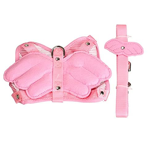 Vktech Pink Adjustable Angle Wing Rabbit Ferret Pig Harness Leash Lead Strap Nylon (Ferret Harnesses And Leashes)