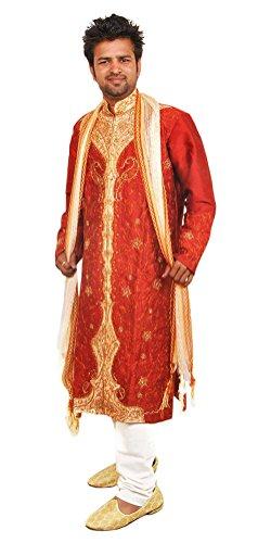 Apparelsonline Men's Silk Sherwani Suit (XXXLarge) ()
