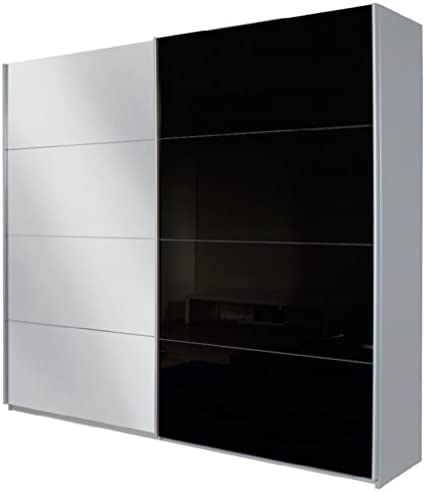 Rauch Humo Quadra/Armario de Puertas correderas (2 Puertas/1 Puerta Espejo de/Cuerpo: Gris Metalizado/Frontal: Vidrio Negro/Espejo, Otro, Breite 226 cm: Amazon.es: Hogar