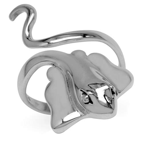925 Sterling Silver Stingray Fish Fashion Casual Wide Front Adj. Ring Size 8