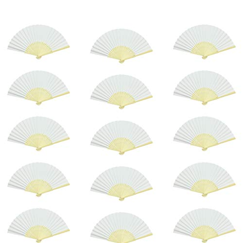 HYHP 15 Pieces Paper Folding Fans Wedding Fold Fans White Bamboo Paper Fans Bamboo Hand Held Fan Wedding Party, Home Decoration, Kids Painting, Kids Drawing by HYHP