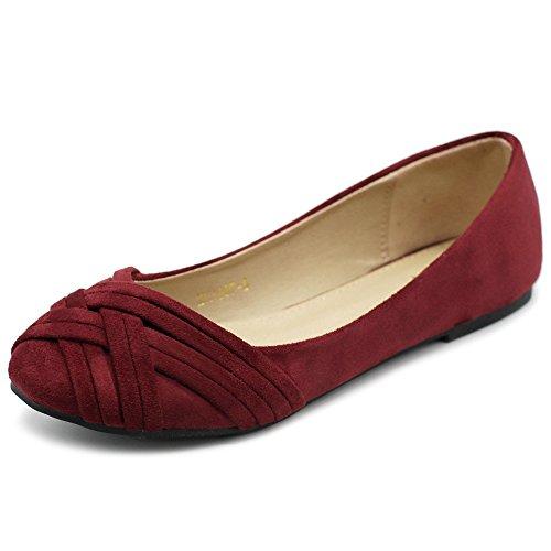 Ollio Women's Ballet Shoe Cute Casual Comfort Flat ZM1987(7 B(M) US, Burgundy)