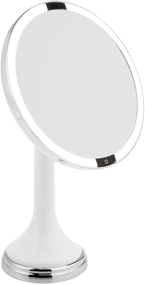 mDesign Modern Motion Sensor LED Lighted Makeup Bathroom Vanity Mirror, Large 8 Round, 3X Magnification, Hands-Free, Rechargeable and Cordless – White Chrome