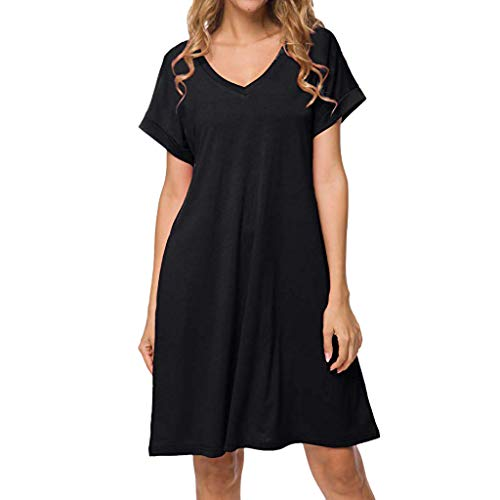 Tantisy ♣↭♣ Women's V-Neck and O-Neck Cotton Casual Dress Short Sleeve Basic Plain Summer Ladies Dresses from Tantisy ♣↭♣ Fashion Women's