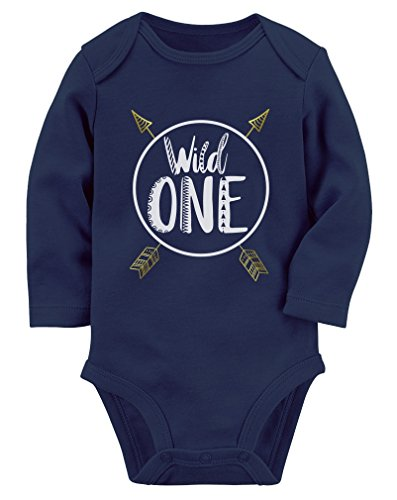 Wild One Baby Boys Girls 1st Birthday Gifts One Year Old Baby Long Sleeve Bodysuit 18M (12-18M) Navy -