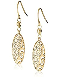 14k Yellow Gold Oval Ornament Earrings