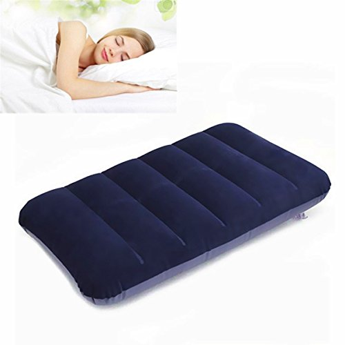 Pillows & Chions - 47x 30cm Pvc Flocking Portable Inflation Pillow Outdoor Camping Travel Nap Sleeping Pillow - Intex Mattress Full Size Inflatable - Air Matresses Built In Pump - 1PCs