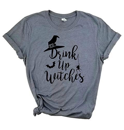 MYHALF Drink Up Witches T Shirt for Women Halloween Funny Witch Gift Costume Tee Tops