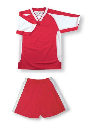 Sweeper soccer uniform set for youth or adult soccer teams - size Adult S - red jersey, red shorts (Set Uniform Adult Football)