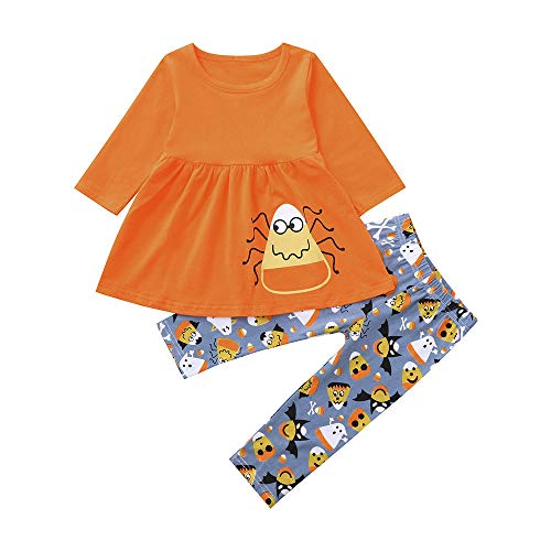 Suma-ma Halloween Girls Set,Long Sleeves Print Top+Pants Outfit Clothes Halloween Suit Set for Toddler Baby Girl (5 Years, Orange)