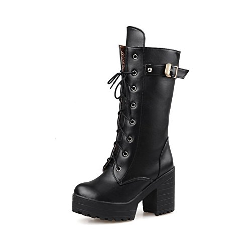 Black Closed Top Women's Heels Round Solid Toe PU Boots Low AmoonyFashion High P6g7wqq
