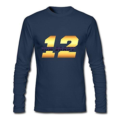 Men's Fashion Tom Brady 12 Logo Long Sleeve T Navy US Size XL