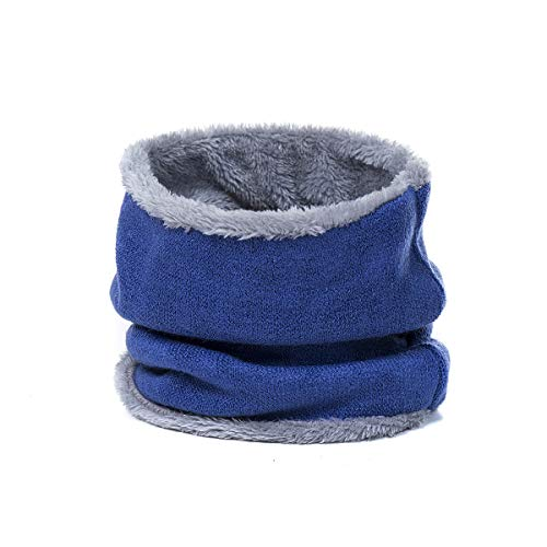 Leories Harsh Winter Double-Layer Soft Fleece Lined Thick Knit Neck Warmer Circle Scarf Windproof Blue