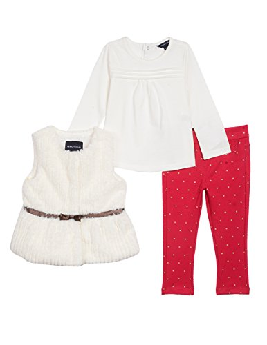 Nautica Baby Girls' Three Piece Vest, Top and Pant Set, Cream/Red Dots, 9 (Red Girls Top)