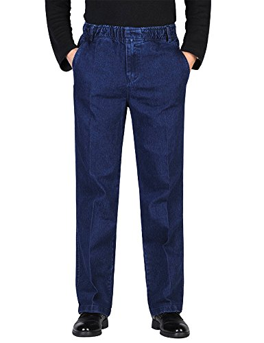(IDEALSANXUN Men's Elastic Waist Denim Solid Casual Pants (#1 Dark Blue, 40))