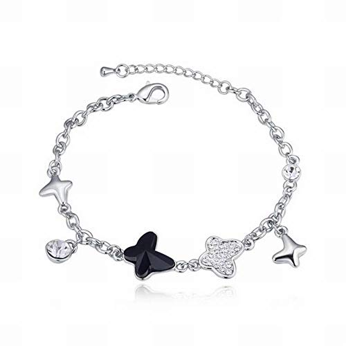 - HOX Swarovski Elements Crystal Bracelet Butterfly Love Trinket Ruili Temperament Bracelet Trendy Swarovski Elements Crystal Alloy Gold Plated, Black