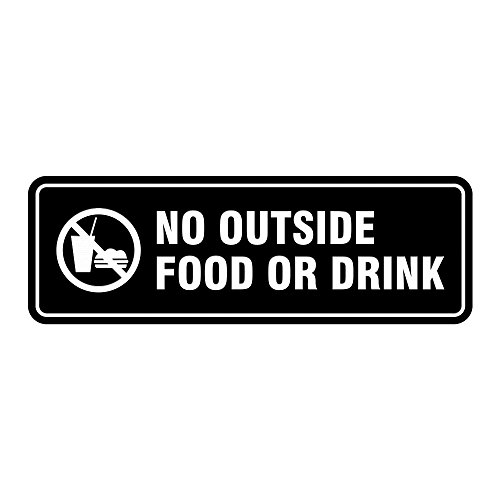 Standard No Outside Food or Drink Door/Wall Sign - Black - Large by All Quality (Image #1)
