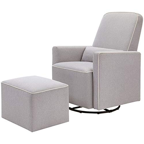 DaVinci Olive Upholstered Swivel Glider with Bonus Ottoman, Grey with Cream Piping from DaVinci