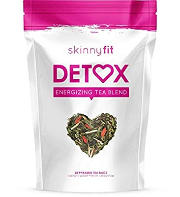SkinnyFit Detox Tea: Cleanse with All-Natural, Laxative-Free, Whole Green Tea Leaves, Goji Berries, Ginseng - A Slimming Way to Release Toxins for Weight Loss, Reduce Bloating, Boost Metabolism, 28 ct