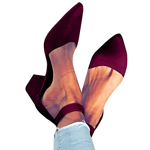 Pxmoda Womens Pointed Toe Pumps Chunky Block Heel Suede Sandal with Ankle Strap (US 9, Red wine)