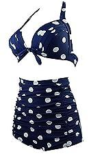 KEBINAI Per Comfortable Women's Vintage High Waist Padded Polka Dot Bikini Swimsuit Set