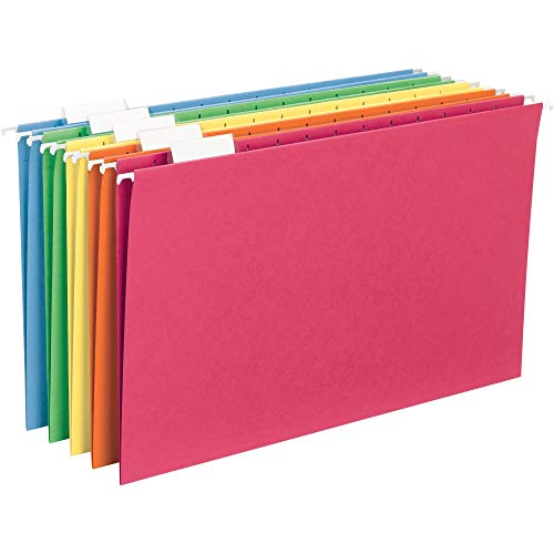 (Smead Hanging File Folder with Tab, 1/5-Cut Adjustable Tab, Legal Size, Assorted Primary Colors, 25 per Box)
