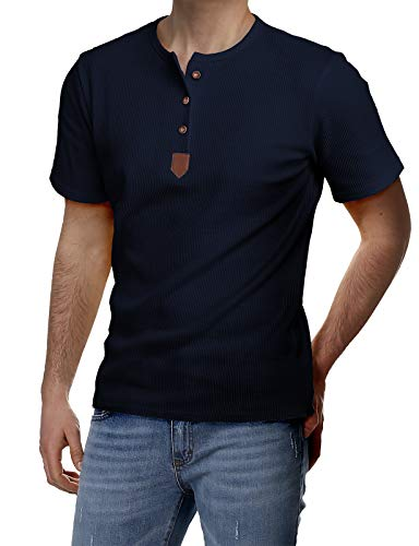 H2H Mens Classic Fit Solid Color Crew Neck 3 Button Placket Short Sleeve Henley T-Shirts Navy US S/Asia M (JDSK31)