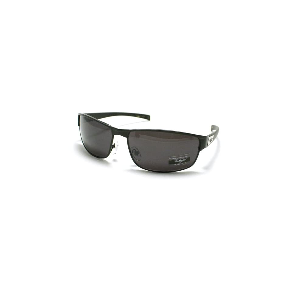 All Black Men's Metal Warp Around Rectangular Sporty Biker Sunglasses Clothing