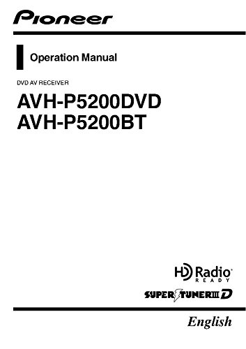 Price comparison product image Pioneer AVH-P5200DVD AV Receiver Owners Manual