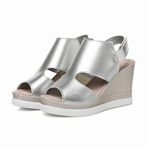 Carolbar Para Mujer Peep Toe Hook-and-loop Plataforma Sandalias De Plata
