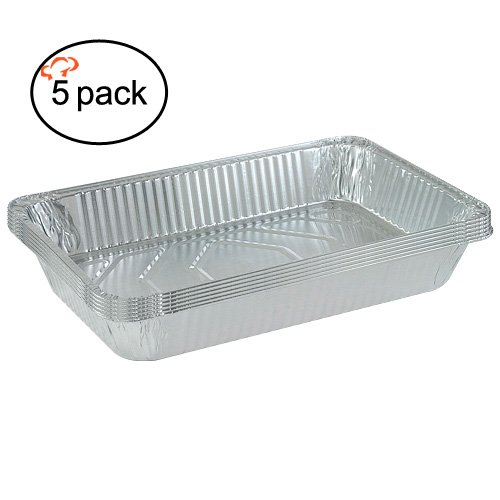 TigerChef TC-20509 Durable Full Size Deep Aluminum Foil Steam Table Pans with Recipe Card, Multi-Purpose Disposable Pans, 21
